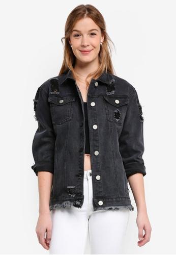 Glamorous black Distressed Denim Jacket B16A6AA2FFD925GS_1