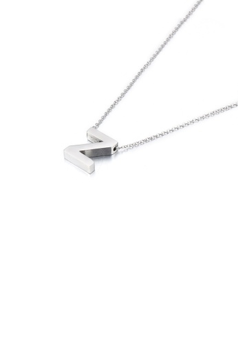 Glamorousky silver Simple Temperament English Alphabet Z 316L Stainless Steel Pendant with Necklace AB0E0AC13DBA06GS_1
