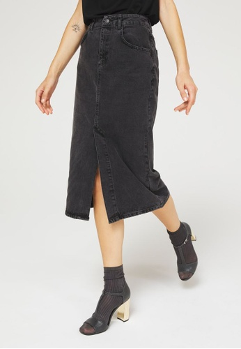 Sisley black Denim Midi Skirt B88A1AA80BD83EGS_1