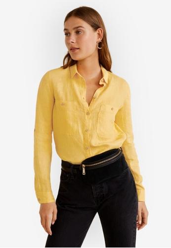 Mango yellow Pocket Linen Shirt 4CFD0AADE824BAGS_1