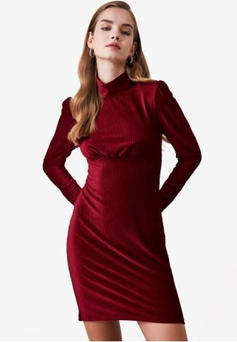 Trendyol red Velvet Corduroy Dress AAF14AAA60B274GS_1