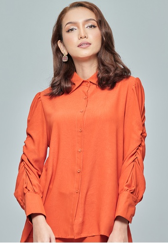 MC Vogue orange Coral Elastic Puff Sleeve Top 800D2AA4F6EE6DGS_1