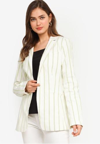 Banana Republic green Linen Stripe Suit Jacket 40AE9AABEEDCF5GS_1