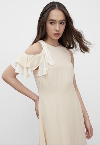 Pomelo beige Sustainable Ruffled Sleeve Dress - Cream 7D009AA5CDEA4AGS_1