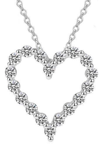 LYCKA silver LFF1241-LYCKA-S925 Silver White Zircon Trendy Hearts Necklace -Silver LY529AC0HACPSG_1