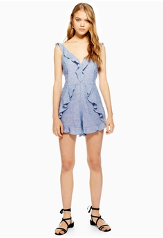 834cd914d016 8% OFF TOPSHOP Ruffle Playsuit With Linen S  79.90 NOW S  73.90 Sizes 6 8  10 14