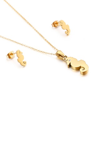 Glamorousky white Simple and Lovely Plated Gold Seahorse 316L Stainless Steel Necklace and Stud Earrings Set 109ACAC92068C4GS_1