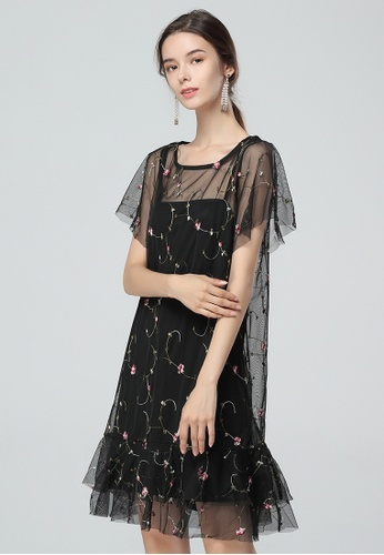 London Rag black Black Embroidered Tulle Dress CF6ADAAC1126B6GS_1