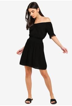 c0cea65c7daf Miss Selfridge Black Ruched Bardot Dress S  63.90. Sizes 6 8 10 12 14
