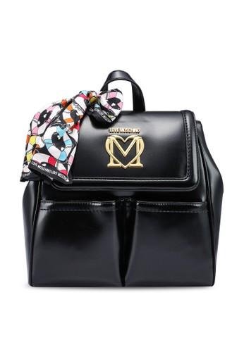 Love Moschino black Twill Scarf Love Logo Detail Backpack 7F034ACB1ECB04GS_1