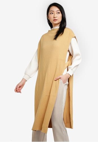 LOWRYS FARM yellow Long Knitted Vest C44DEAA1A45E1BGS_1