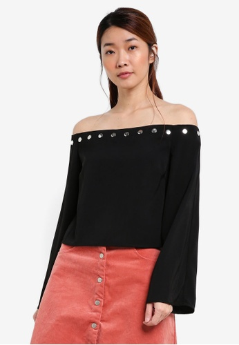 Something Borrowed black Off Shoulder Popper Top 1AD74AA71C62D1GS_1