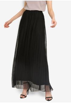 b2d4d29838 Lace & Beads black Pleated Maxi Skirt A4B58AA0B596B9GS_1