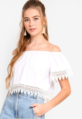 Something Borrowed white Off Shoulder Lace Trim Top FB5FAAAC68D165GS_1
