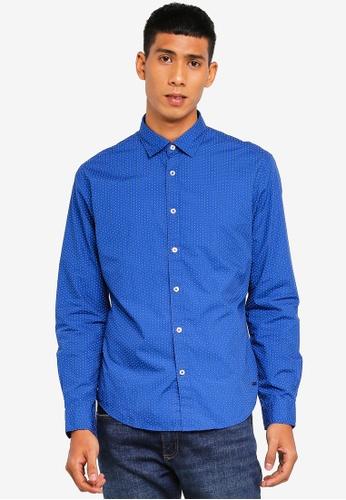 ESPRIT 藍色 長袖襯衫 07F5FAA622B5D8GS_1