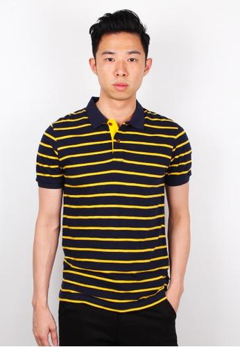 Moley navy Striped Polo T-Shirt MO329AA0FI5ASG_1