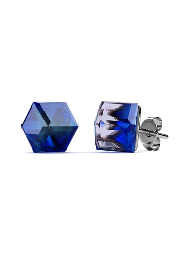 Her Jewellery blue and silver Classic Cube Earrings- Embellished with Crystals from Swarovski® D3154AC530855DGS_1
