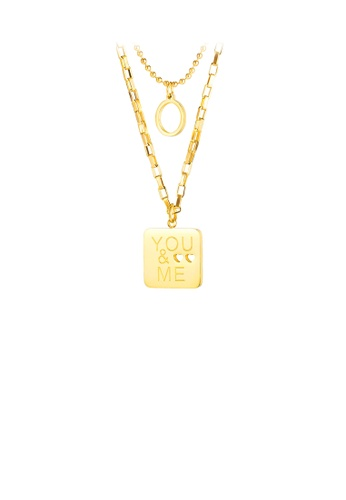 Glamorousky silver Fashion Simple Plated Gold Geometric Square 316L Stainless Steel Pendant with Double Necklace A653EAC71621E2GS_1