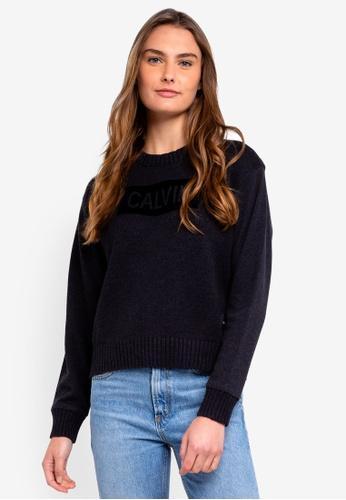 Calvin Klein black Os Swr Panel Sweatshirt 07BF0AA6D9B837GS_1