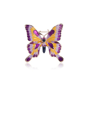Glamorousky silver Simple Fashion Plated Gold Purple Butterfly Brooch 894B7ACEF9035AGS_1