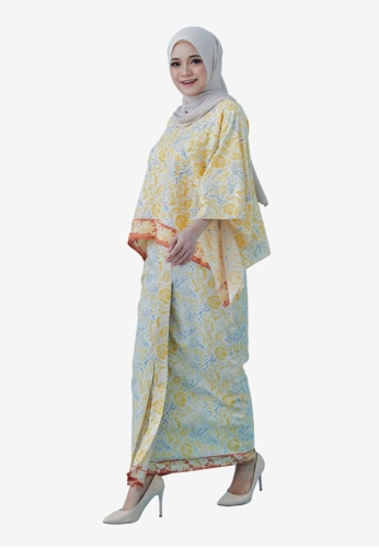 Batik by Emileeya yellow and blue and beige Maryam Sarong set in Cannary E53FFAA170C98BGS_1