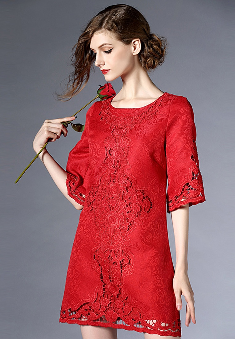 Red Short 2018 One Sleeves New Floral red UA012407 Piece Dress Sunnydaysweety qBBrtw5K