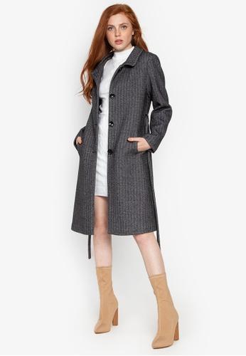 Well Suited grey Herringbone Tweed Wool Trench DD8C0AA601AEEBGS_1