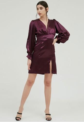 Ratel pink and purple ME & HER Retha Mini Dress - Metallic Purple B546CAA2471B37GS_1
