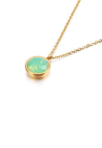 Glamorousky green Simple and Fashion Plated Gold Geometric Round Green Cubic Zirconia 316L Stainless Steel Pendant with Necklace 55668ACE117AA5GS_1