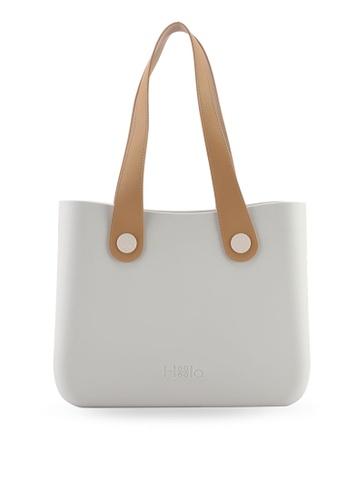 Hoola Hoola white Alma Tote Classic - Eggshell White with Beige & Nude handles 7515AAC627A067GS_1