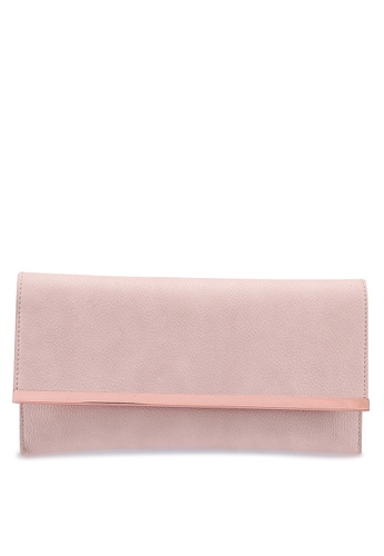 ebee4ff154 MISSGUIDED pink and beige Faux Leather Metal Trim Clutch Bag  4DC17ACECA1FBDGS 1