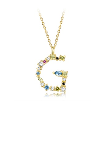 Glamorousky silver 925 Sterling Silver Plated Gold Fashion Simple Color English Alphabet G Pendant with Cubic Zirconia and Necklace 4470BAC2E4A98EGS_1
