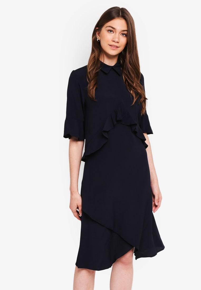 Collar Navy With Peplum Dress CLOSET 8wnB48Eq