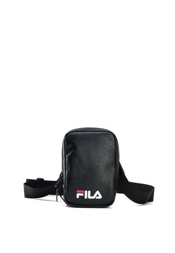 FILA black Unisex Crumpled FILA Logo Crossbody Bag 2DAFCAC6CF0A58GS_1
