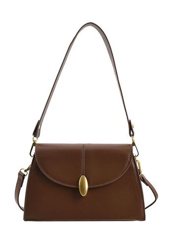 Lara brown Women's Leather Magnetic Buckle Trapezoid Bag - Brown 3F8B0AC61C2FBFGS_1