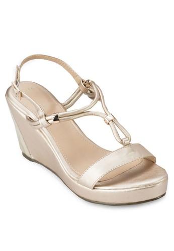 多帶繞踝esprit官網楔型跟涼鞋, 女鞋, 鞋