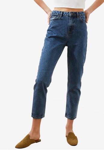 Trendyol 海軍藍色 High 腰圍 Mom 牛仔褲 ADCF7AAA07AD24GS_1