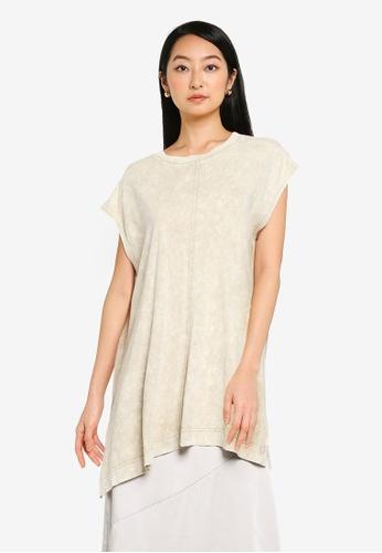 JEANASIS beige Splice Hem T-Shirt BA623AAF8B2A6BGS_1