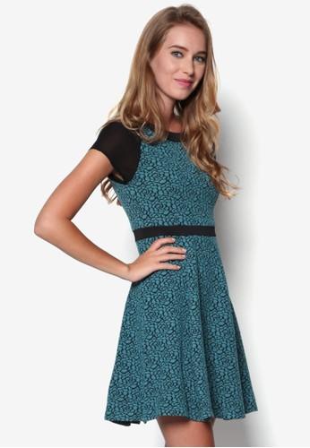 印花傘擺及膝短袖洋裝esprit hk store, 服飾, 洋裝