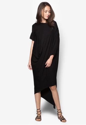 斜下擺垂墜連身裙, 服飾,zalora是哪裡的牌子 洋裝
