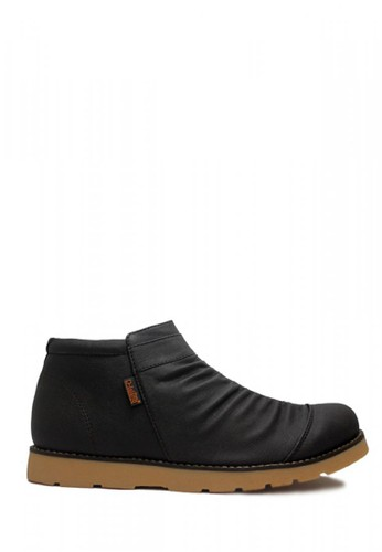 D-Island black D-Island Shoes Slip On Zipper Boots Wrinkle Leather Black 421AFSH58F56EAGS_1
