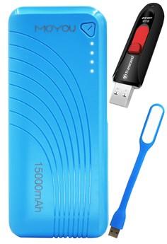 Moyou Premium Power Bank 15000mAh With FREE Transcend 8GB USB & USB Led Lamp