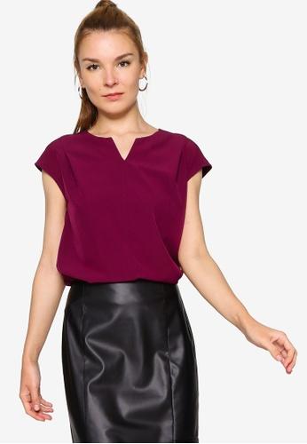 ZALORA WORK 紫色 Notch Neck Cap Sleeve Top 6EE78AAEF1D820GS_1