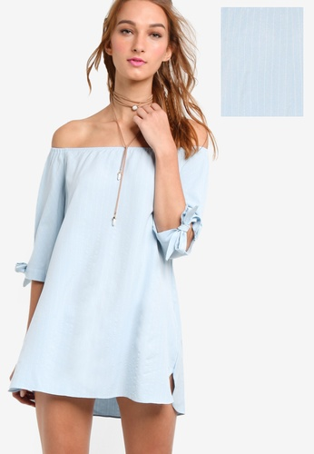 Something Borrowed white Off-Shoulder Tie Detail A-Line Dress 94A4DAAA608847GS_1