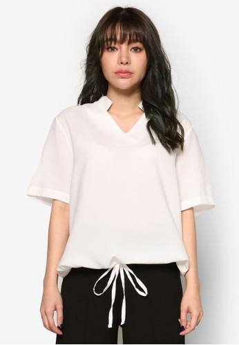 韓式風格V 口立領繫帶上衣京站 esprit, 服飾, 上衣