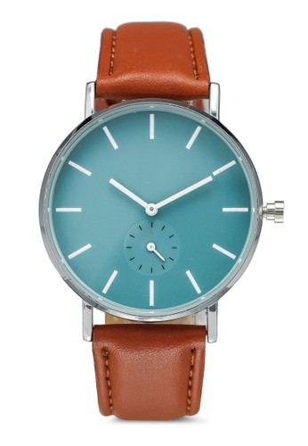 NUVEAU brown Round Face Subdial Brown Strap Watch E235FAC23AF229GS_1