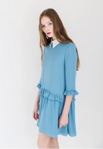 esprit 童裝低腰荷葉飾小尖領連身裙, 服飾, 洋裝
