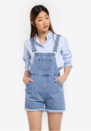 Something Borrowed blue Button Down Detail Short Dungaree A27F7AA1EB922AGS_1