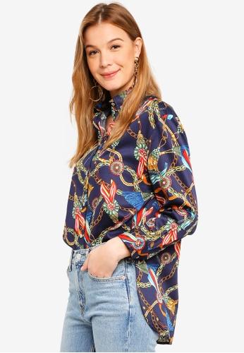 Mango blue and multi Printed Cotton Shirt 61D2FAA3789720GS_1