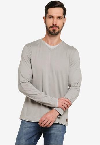 Brave Soul grey Long Sleeve V-Neck Tee 7A894AA1F5E894GS_1